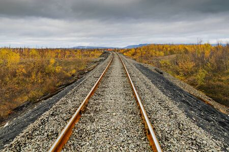 Railway track. Late autumn in the Arctic tundra. The northernmost railway in the world. Taimyr Peninsula near Norilsk. Stock Photo
