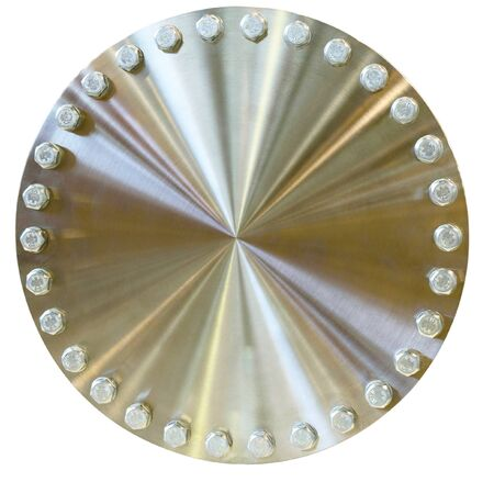 brushed aluminium: Shiny metal circle with bolts placed on the perimeter. Golden color. Isolated on white background.