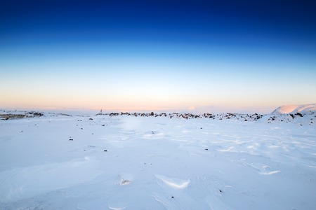 Stone desert, covered with a thick layer of snow. Russian Far North.