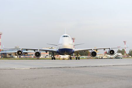 ceased: MOSCOW, RUSSIA - SEPTEMBER 26, 2014: Boeing 747 Transaero towed to the runway. Transaero Airlines has ceased to exist in 2015.