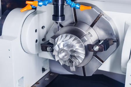 impeller: Cnc milling machine parts during manufacture of the impeller