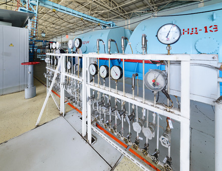 steam turbine: The control panel oil pressure measurement in steam turbine units. Turbine room nuclear power plant. The old authentic gauges.