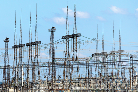 switchgear: High-voltage switchgear nuclear power plant. Industrial landscape. Stock Photo