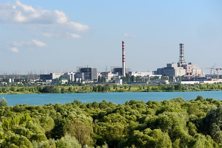 View of the nuclear power plant. Industrial landscape. Standard-Bild