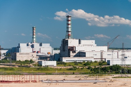 The building and housing units of the nuclear power plant. Industrial landscape.