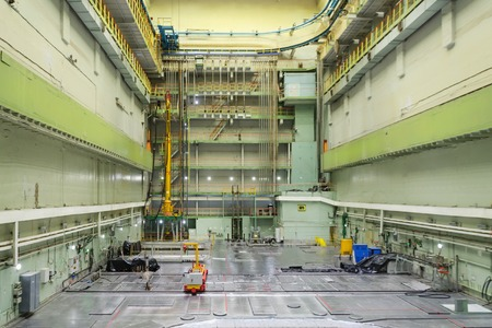npp: Reactor room RBMK. Massive reactor lid, equipment maintenance and replacement of the reactor fuel elements.