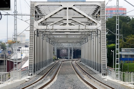 MOSCOW, RUSSIA - SEPTEMBER 11, 2016: Moscow Central Circle Line (Moscow Ring Railway). Metal construction of railway track. Opened to passengers on 10 September 2016