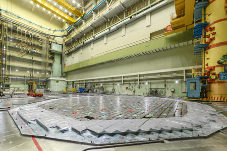 npp: RBMK reactor Central Hall. Visible charge discharge machine Stock Photo