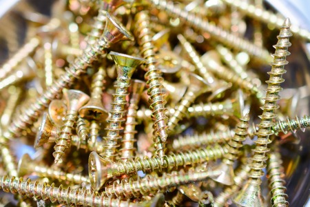 bolts and nuts: Many screws arranged as background. Metal fasteners, scattered in plastic cells.