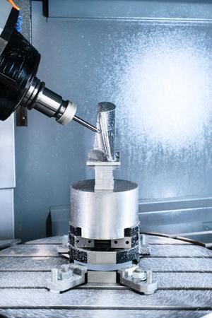 billet: Milling machining center CNC machined billet turbine blade. Stock Photo