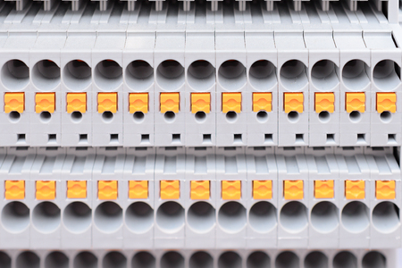 Close up wiring connectors or Terminal Block for Industrial Electronic. Stock Photo