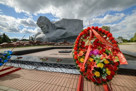 world war ii: BREST, BELARUS - AUGUST 30, 2016: The central square of the memorial complex Brest Fortress. Brest Fortress the first to receive the blow during the attack of the German troops on the Soviet Union Editorial
