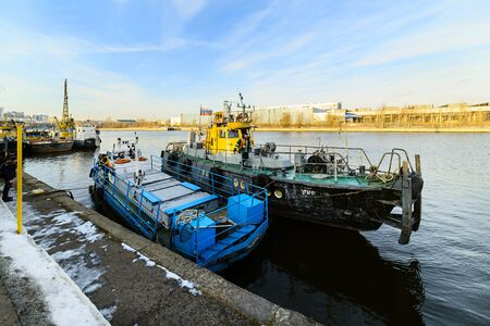 MOSCOW, RUSSIA - NOVEMBER 11, 2016: Court State Unitary Enterprise Mosvodostok berth on the Moscow River.
