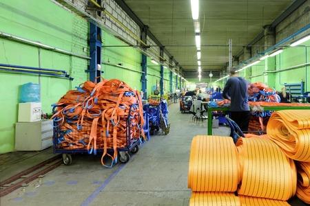 NIZHNY NOVGOROD, RUSSIA - NOVEMBER 28, 2016: Sewing workshop for production of nylon down cargo straps. Editorial