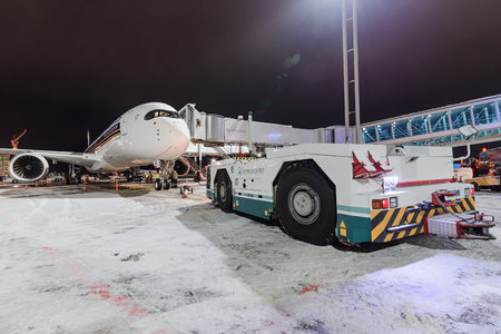 Moscow region, Domodedovo, Russia - December 15, 2016: First visit passenger aircraft Airbus A350-900 9V-SMF Singapore Airlines to Domodedovo international airport.