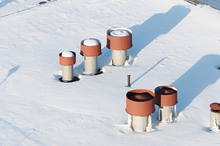 Vent pipes on the roof.