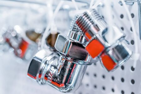 The chromeplated pipeline connectors. Stock Photo