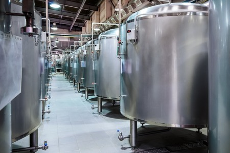 Modern Beer Factory. Small steel tanks for fermentation of beer. Reklamní fotografie