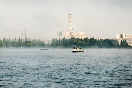 Kursk NPP. View from the technological cooling pond. Stock Photo