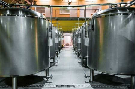 Modern Beer Factory. Rows Of Steel Tanks For The Storage Beer. Stock Photo,  Picture And Royalty Free Image. Image 74863114.