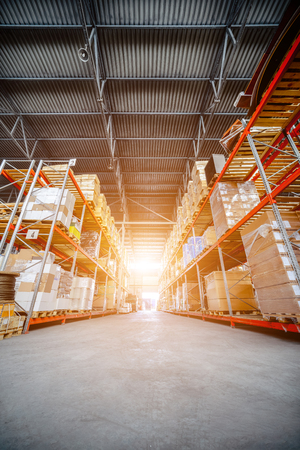 Large hangar warehouse industrial and logistics companies. Stock Photo