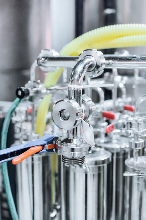 industrial machinery: Elements of the filter for beer filtration. Stock Photo