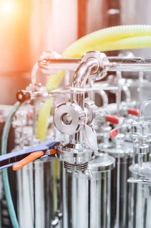 beer pump: Elements of the filter for beer filtration. Stock Photo