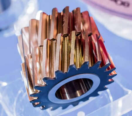 Helical gears, oblique teeth involute gearing. Stock Photo