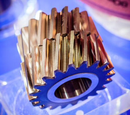 Helical gears close-up.
