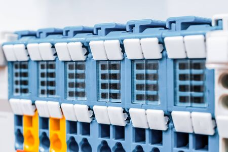 Close up wiring connectors, terminal blocks. Stock Photo