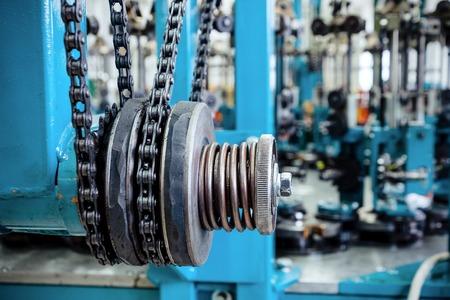 Chain drive, drive element of braiding machine. Stock Photo