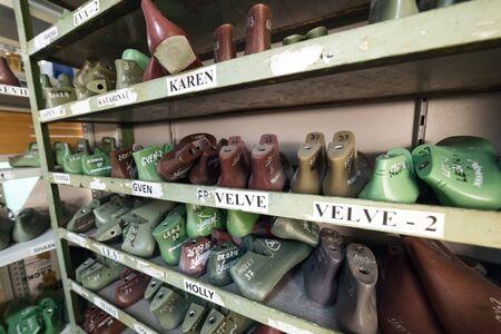 shoe lasts on a shelf Editorial
