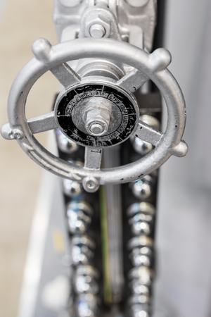 Water faucet with a gray flywheel. Stock Photo