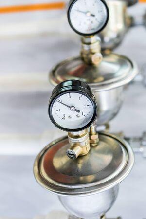 Hydraulic fluid pressure indicator. Stock Photo