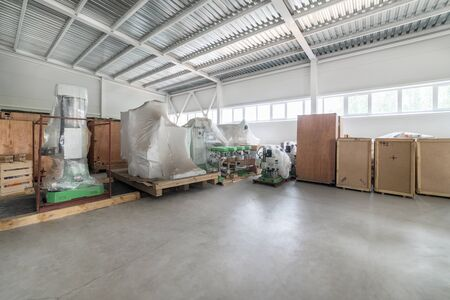 Warehouse of finished products of the plant producing metalworking machines.