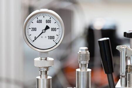 round: Mechanical pressure gauges. Stock Photo
