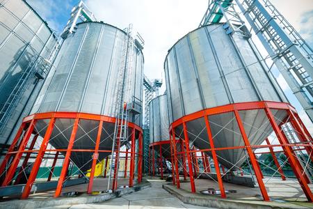Modern large granary. Large metal silos.