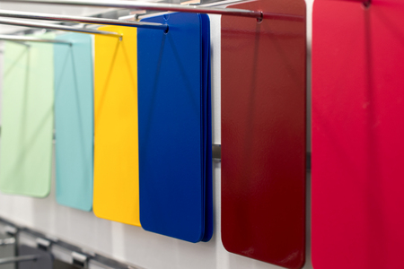 Rectangular metal plates, painted in various colors. Stock Photo