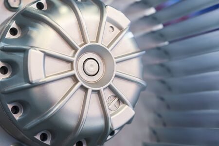 Motor and Blades of the impeller of an industrial fan. Close-up.