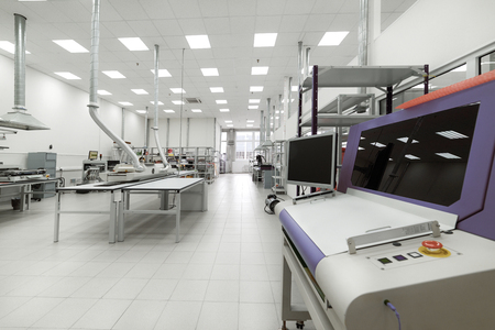 Clean production room. Manufacture of industrial electronics.