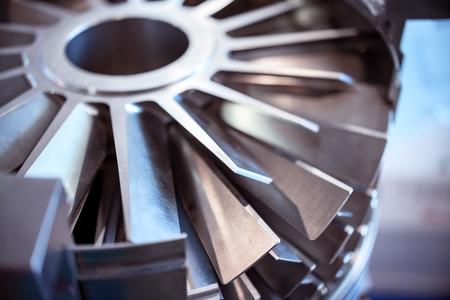 Blades molecular vacuum pump. Abstract industrial background.