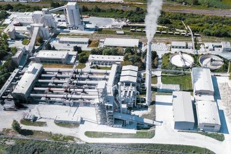 Production de ciment, installation de combustion de mélange de ciment. Banque d'images