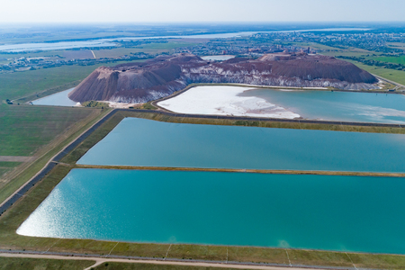 Industrial lakes with water. Part of the system of recycled water supply of underground salt mines Stock Photo