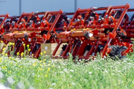 Trailed agricultural equipment. Products of the plant for the production of agricultural machinery Фото со стока