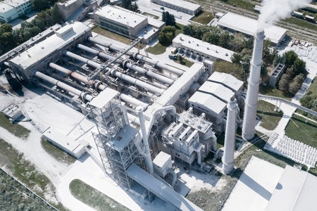 Cement production, plant for burning cement mix. Aerial photography