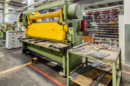 Metalworking shop. Guillotine shears machine