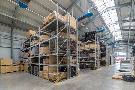 Factory warehouse spare parts. Storage and distribution of components Banque d'images