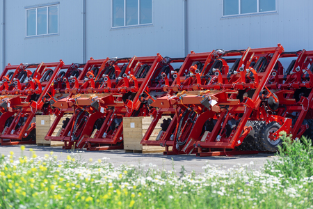 Trailed agricultural equipment. Products of the plant for the production of agricultural machinery Stok Fotoğraf