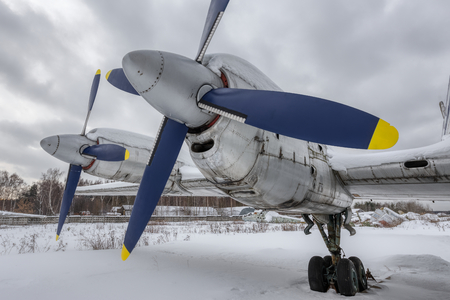 Turboprop engines of old aircraft. Фото со стока