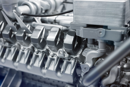 Fragment eines Dieselmotors. Standard-Bild